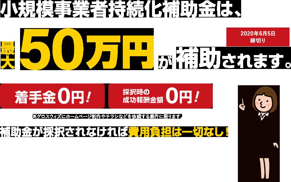 小規模事業者持続化補助金は、最大50万円補助されます。
